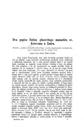 Dva popisa listina glasovitoga manastira sv. Krševana u Zadru / Sime Ljubić