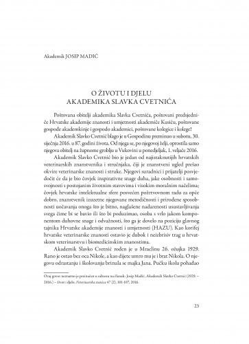 O životu i djelu akademika Slavka Cvetnića / Josip Madić