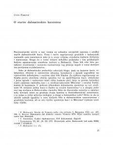 O starim dalmatinskim kaminima / Cvito Fisković