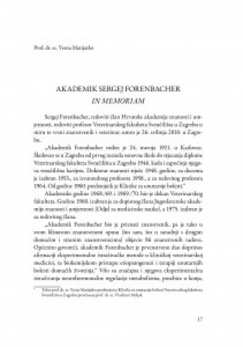 Akademik Sergej Forenbacher : in memoriam / Vesna Matijatko