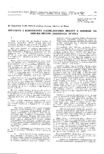 Identitet i kontinuitet jugoslavenske države s obzirom na odluke Drugog zasjedanja AVNOJ-a / Vladimir-Đuro Degan