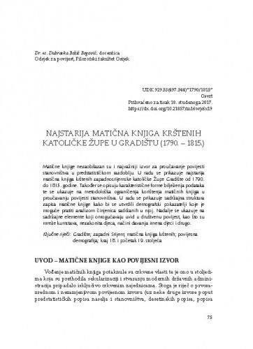 Najstarija matična knjiga krštenih katoličke Župe u Gradištu (1790. – 1815.) / Dubravka Božić Bogović