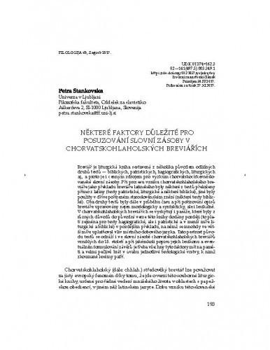 Některé faktory důležité pro posuzování slovní zásoby v chorvatskohlaholských breviářích / Petra Stankovska