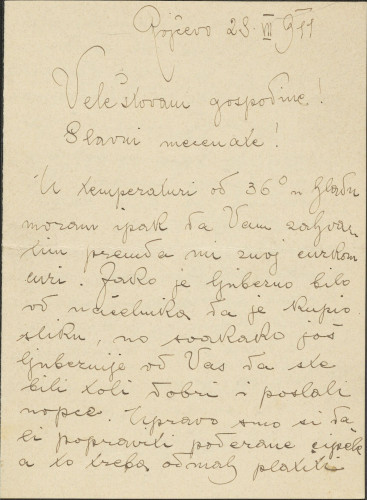 Pismo Branka Šenoe i Naste Rojc Antunu Ullrichu, Rojčevo, 28.7.1911.