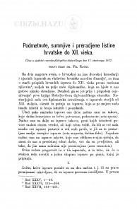 Podmetnute, sumnjive i prerađene listine hrvatske do XII. vieka / F. Rački