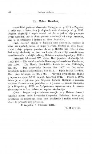 Dr. Milan Rešetar / T. Maretić