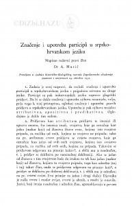 Značenje i upotreba participâ u srpsko-hrvatskom jeziku / A. Musić