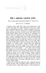 Misli o umjetnom svjetskom jeziku / T. Maretić