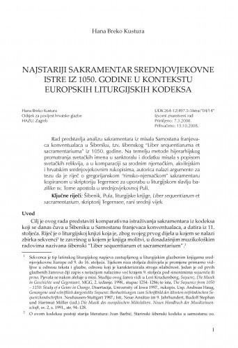 Najstariji sakramentar srednjovjekovne Istre iz 1050. godine u kontekstu europskih liturgijskih kodeksa / Hana Breko Kustura