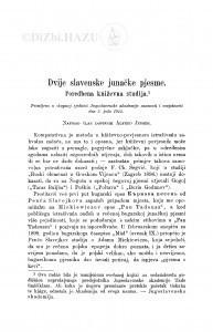 Dvije slavenske junačke pjesme : poredbena kńiževna studija / A. Jensen
