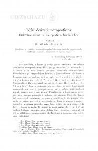 Neki derivati mezoporfirina / Mladen Deželić