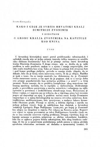 Kako i gdje je svršio hrvatski kralj Dimitrije Zvonimir, s dodatkom: O grobu kralja Zvonimira na Kaptolu kod Knina / S. Gunjača