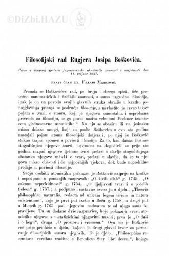 Filosofijski rad Rugjera Josipa Boškovića / F. Marković