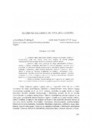 Služba na galijama u XIV. stoljeću u Zadru / Lovorka Čoralić