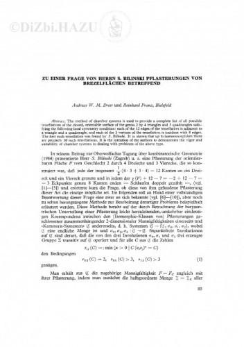 Zu einer Frage von Herrn S. Bilinski Pflasterungen von Brezelflaechen betreffend / A. W. M. Dress, F. Reinhard