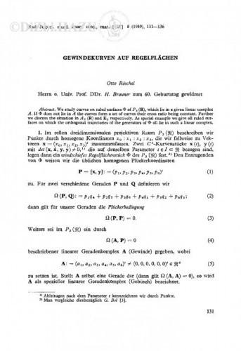 Gewindkurven auf Regelflächen / Otto Röschel