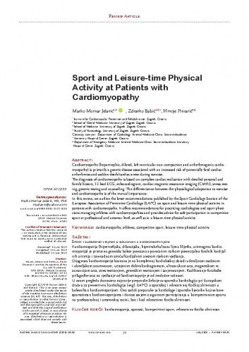 Sport and leisure-time physical activity at patients with cardiomyopathy / Marko Mornar Jelavić, Zdravko Babić, Hrvoje Pintarić
