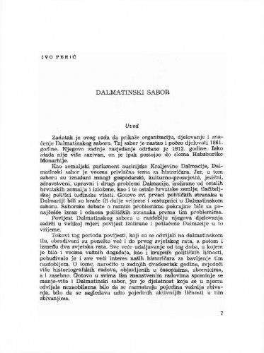Dalmatinski sabor / Ivo Perić