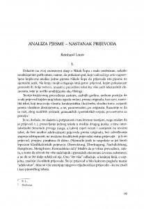 Analiza pjesme - nastanak prijevoda / Reinhard Lauer
