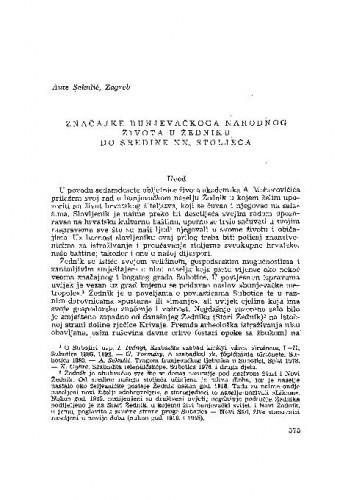 Značajke bunjevačkog narodnog života u Žedniku do sredine XX. stoljeća / A. Sekulić