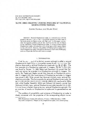 Rank zero elliptic curves induced by rational Diophantine triples / Andrej Dujella and Miljen Mikić