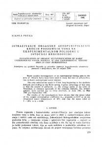 Istraživanje organske autopurifikacije krških podzemnih voda na eksperimentalnom poligonu u istočnoj Hercegovini / N. Preka