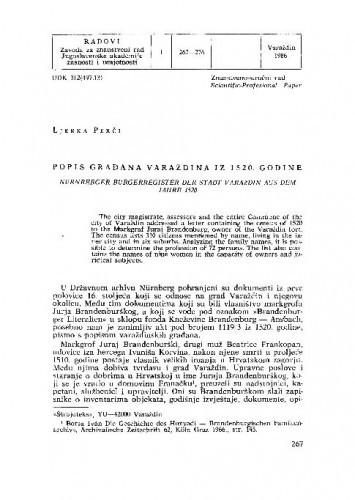 Popis građana Varaždina iz 1520. godine / Ljerka Perči