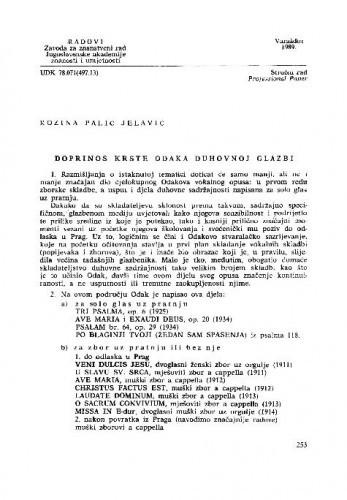 Doprinos Krste Odaka duhovnoj glazbi / Rozina Palić-Jelavić