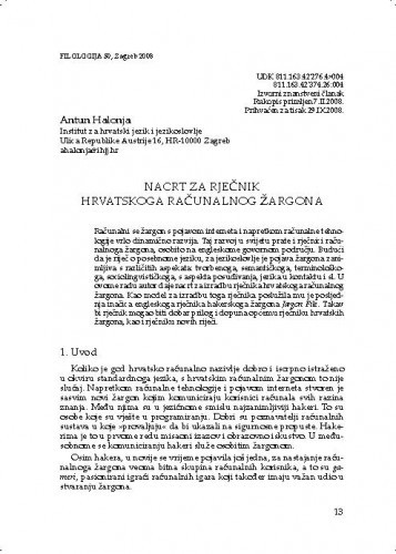 Nacrt za rječnik hrvatskoga računalnog žargona / Antun Halonja
