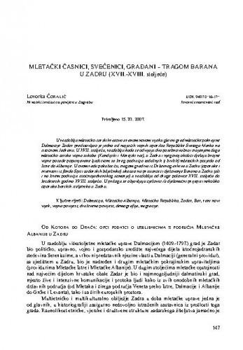Mletački časnici, svećenici, građani - tragom Barana u Zadru (XVII.-XVIII. stoljeće) / Lovorka Čoralić