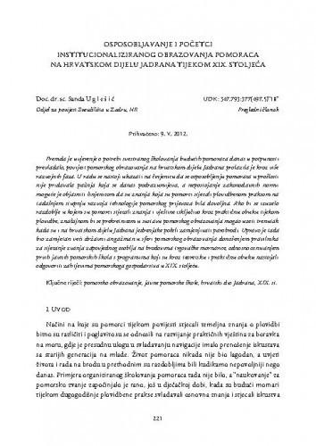 Osposobljavanje i početci institucionaliziranog obrazovanja pomoraca na hrvatskom dijelu Jadrana tijekom XIX. stoljeća / Sanda Uglešić