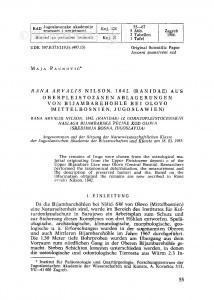 Rana arvalis Nilson, 1842. (Ranidae) aus oberpleistozaenen Ablagerungen von Bijambarehoehle bei Olovo (Mittelbosnien, Jugoslawien) / M. Paunović