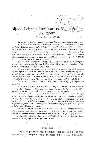 Mjesto Boljun u Istri koncem 16. i početkom 17. vijeka / R. Strohal