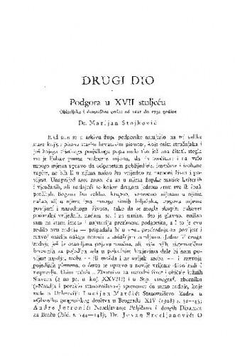 Podgora u XVII. stoljeću : obiteljske i demotične crtice od 1621. do 1730. godine / M. Stojković