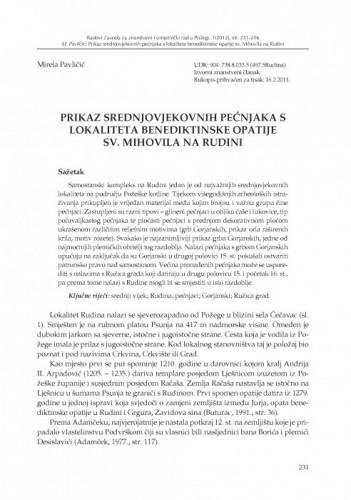 Prikaz srednjovjekovnih pećnjaka s lokaliteta benediktinske opatije sv. Mihovila na Rudini / Mirela Pavličić
