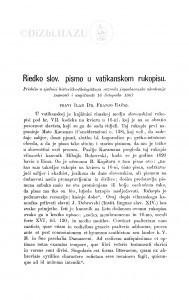 Riedko slov. pismo u vatikanskom rukopisu / F. Rački