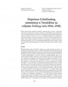 Doprinos Uršulinskog samostana u Varaždinu za vrijeme Velikog rata 1914.-1918. / Klaudija (Ana) Đuran