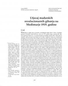 Utjecaj mađarskih revolucionarnih gibanja na Međimurje 1919. godine / Goran Korov