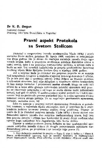 Pravni aspekti Protokola sa Svetom stolicom / V.Đ. Degan