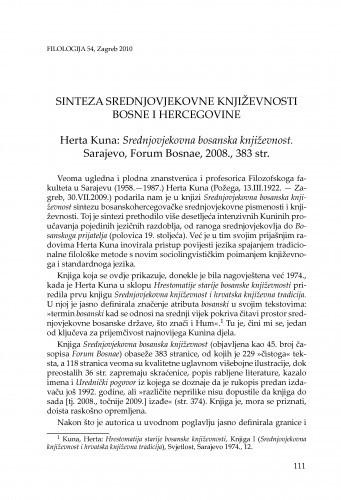 Sinteza srednjovjekovne književnosti Bosne i Hercegovine : Herta Kuna: Srednjovjekovna bosanska književnost. Sarajevo, Forum Bosnae, 2008. : [prikaz] / Pavao Knezović