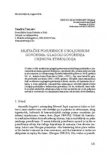 Mletačke posuđenice u boljunskim govorima: glagoli govorenja i njihova etimologija / Sandra Tamaro