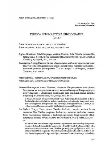 Tekuća onomastička bibliografija (2011.) / Branimir Brgles, Joža Horvat, Ines Virč