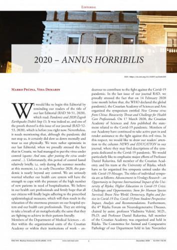 2020 - Annus horribilis : Editorial / Marko Pećina, Vida Demarin