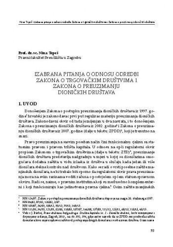 Izabrana pitanja o odnosu odredbi Zakona o trgovačkim društvima i Zakona o preuzimanju dioničkih društava / Nina Tepeš