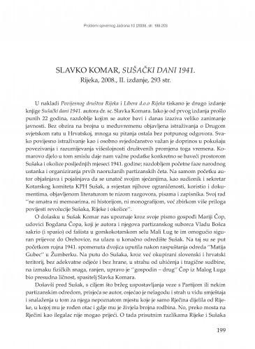 Slavko Komar, Sušački dani 1941., Rijeka 2008., II. izdanje : [prikaz] / Milan Radošević