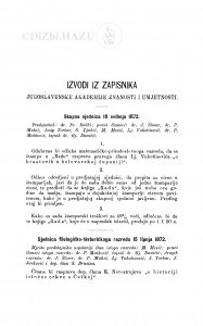 Izvodi iz zapisnika Jugoslavenske akademije znanosti i umjetnosti [1872]