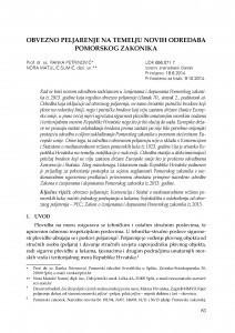 Obvezno peljarenje na temelju novih odredaba Pomorskog zakonika / Ranka Petrinović ; Nora Matulić Sumić