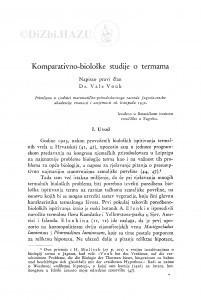 Komparativno-biološke studije o termama / V. Vouk