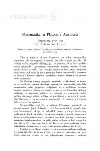 Matematika u Platona i Aristotela / Ž. Marković