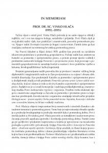 In memoriam : prof. dr. sc. Vinko Hlača (1932.-2015.) / Dorotea Ćorić